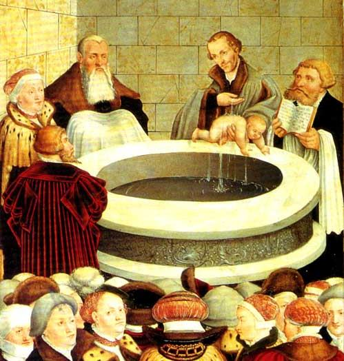 Phillip Melanchthon baptizing an infant, altarpiece in Wittenberg by Lucas Cranach the Elder and the Younger (1547)